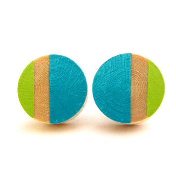 Turquoise and lime green post earrings, wood stud earrings, colorblock earrings