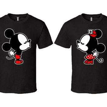 Mickey Minnie Kiss Couple Matching Love Set T-shirt