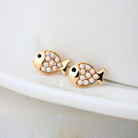 Cute Golden Pearl Fish Stud Earring from LOOBACK FASHION STORE