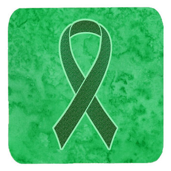 Set of 4 Kelly Green Ribbon for Kidney Cancer Awareness Foam Coasters AN1220FC