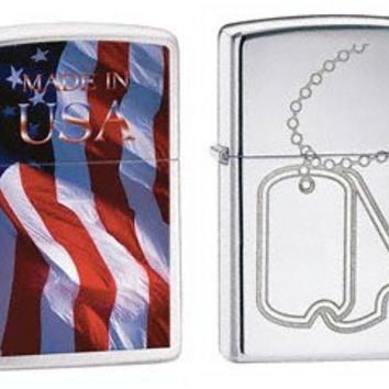 Zippo Lighter Set - Made in USA Flag and Military Dog Tags Engraved Logo