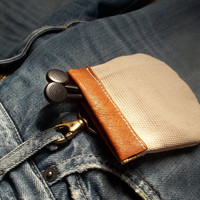 Leather canvas earphone case, earpod case, coin case, bag, gifts under 20