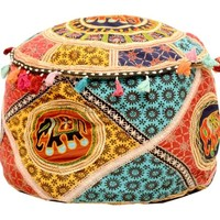 Storage ottoman Indian Vintage Embroidered Poufe Decorative Pouf Ethnic Art 5650