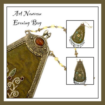 Art Nouveau Evening Handbag, Beautifully Embellished, Dimensional Embroidery FloralDesign,Ornately Detailed Frame, Foiled Faux Amber Cabs