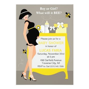 "Bumble Bee Baby Shower Invitations 5"" X 7"" Invitation Card"