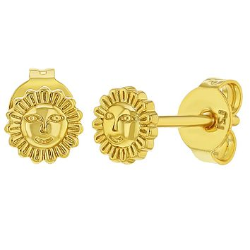 18k Gold Plated Small Sun Push Back Stud Earrings for Girls 4mm