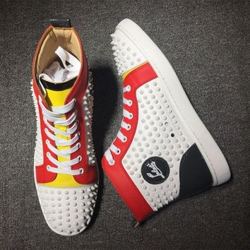 Cl Christian Louboutin Louis Spikes Style #1817 Sneakers Fashion Shoes - Best Online Sale