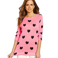 Gianni Bini Love Heart-Print Knit Sweater - Cotton Candy