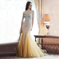Luxury Crystal Sexy Prom Dresses 2016 New Vestidos De Novia Mermaid Tulle Beaded Sweetheart Specil Occasion Party Gowns