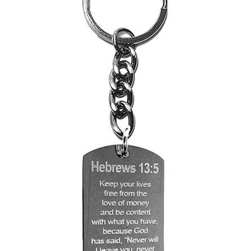 Hebrews 13:5 Bible Verse Metal Ring Key Chain Keychain