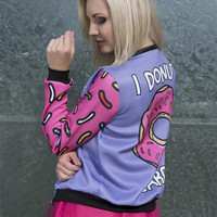 3D Printed Donuts Women Bomber Jacket