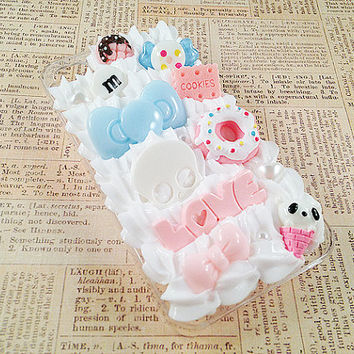 Clear iPhone 4/4S Case - Decoden Hard Phone Case - Kawaii Sweets Deco - Pastel, Love, Candy, Skull, Bows - Whipped Cream - Snap On Case
