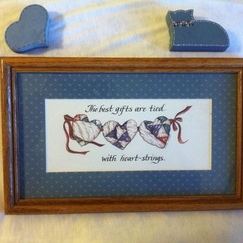 Heart Wall Plaque Vintage Wood Watercolor Wall Decor Hand Painted With Hearts Ribbons and The Best Gifts Are Tied With Heart Strings Quote