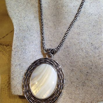 Vintage Genuine White Mother of Pearl silver finished Pendant