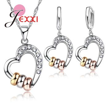 Fashion Design African AAA Crystal Hollow Heart with Threes Circle Pendant Necklace Earrings 925 Sterling Silver Jewelry