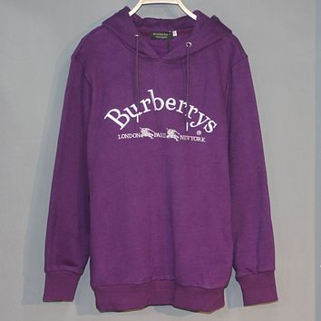 Burberry 2018 new double horse letter embroidery couple models plus velvet hooded sweater Purple