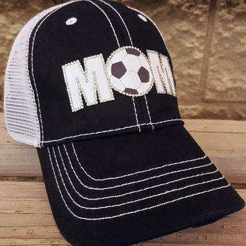 Soccer Mom Mesh Trucker Cap with contrast stitching and rhinestone soccer ball