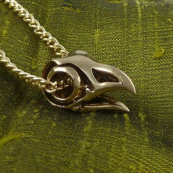 "Bird Skull Necklace Bronze Eagle Skull Pendant on 24"" Gold Plated Chain"