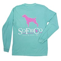 Polka Pointer Long Sleeve Tee Shirt in Chalky Mint by Southern Fried Cotton