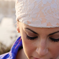 Lace and Spandex Workout Headband in Peach, Hair Wrap, High Performance, Girly and Feminine Original, Crossfit, Yoga