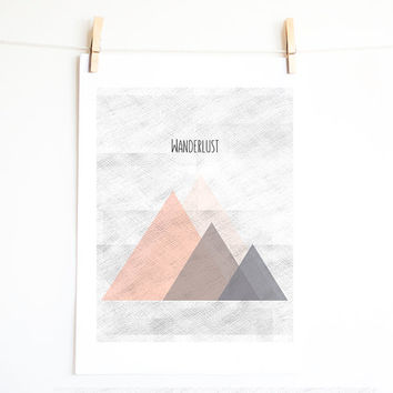 Wanderlust. Mountain.Triangle art.Geometrical print design. Minimal. Pastel color. Pink and Grey triangles. Printable art. INSTANT DOWNLOAD