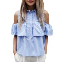 2016 Summer Women Off the Shoulder Ruffles Blouse Shirts Turn Down Blue Casual Sexy Tops Chemise Femme Work Office Blusas Ladies