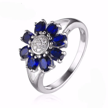 Silver 4.6ct Oval Shape Created Sapphire Flower Wraparound Ring