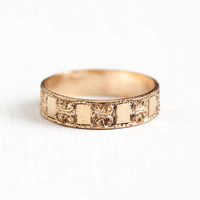 Antique 10k Rose Gold Filled Ring Band - Size 7 3/4 Edwardian 1910s Eternity Repousse Box & Swirl Pattern Cigar Band Stacking Jewelry
