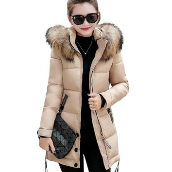 Winter Jacket Women Fur Hooded Parka Long Coats Cotton Padded Winter Coat Women Warm Thicken Jaqueta Feminina Inverno