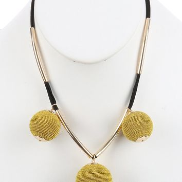 Gold Color Cord Wrapped Chunky Ball Charm Bib Necklace