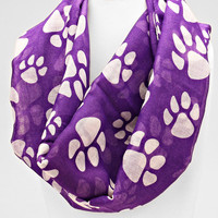 Puppy Print Scarf Purple
