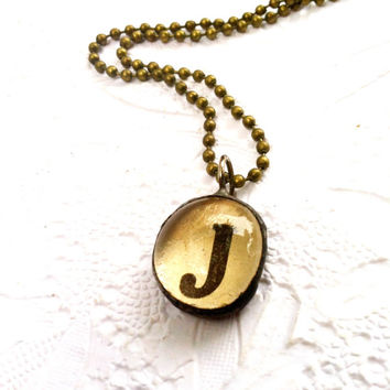J Charm Necklace, Dictionary Letter Charms, Soldered Glass Initial Pendant, Personalized Jewelry,The Letter J Necklace