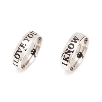 Star Wars Rings I Love You I Know Couple Rings Stainless Steel Lovers Ring Valentine's Day Gift Best Present Promise Ring