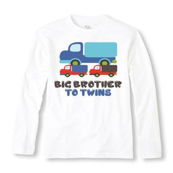 Big Brother To Twins Personalized Long Sleeve Shirt - Personalized with ANY Name! Infant TShirt. Toddler. Sibling. Birth Announcement.
