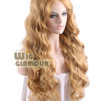 "Long Wavy 26"" Golden Brown Mixed Light Blonde Lace Front Wig Heat Resistant"