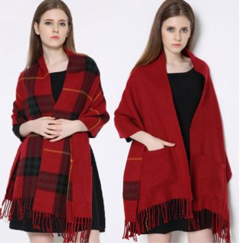 Plaid Scarves Double Wear With Tassel