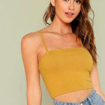 Rib Cami Crop Top