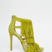 Steve Madden Fringly Yellow Suede Heeled Sandals