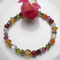 Autumn Bracelet Swarovski Crystals Beaded Bracelet Autumn Colors w Carnelian Gemstones