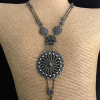 Gunmetal grey pendant disk necklace with pearls
