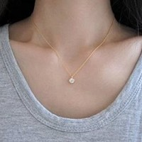 Women's Ladies Fashion Simple Rhinestone Short Necklace Clavicle Necklace