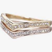 STACKABLE PAVE CHEVRON RING SET from EXPRESS