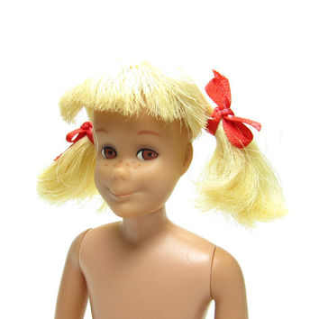 Skooter Doll Skipper's Friend Vintage 1960s Straight Leg Barbie with Yellow Pigtails, Red Ribbons
