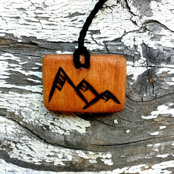 All Natural Mountain Nature Wooden Pendant Necklace