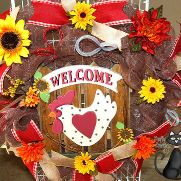 Country Hen Welcome Deco Mesh Wreath by KraftyKreations4You