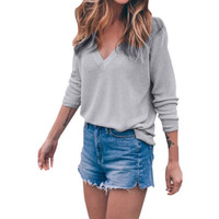 Spring Autumn Women Loose Knitwear Sweater Long Sleeve V-Neck Knitted Loose Thin Jacket Pullover