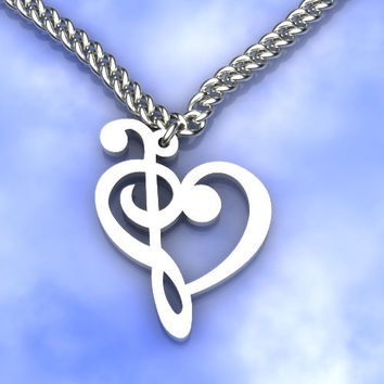 Music Note Necklace - Treble Clef Heart - Sterling Silver