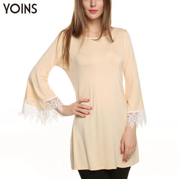 Women Fashion Round Neck Long Bell Sleeve Lace Slim Brief Simple Mini Short Autumn Dress