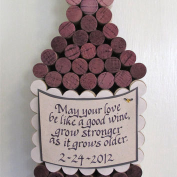 Handmade Wine Cork WIne Bottle Cork Board with Hand Cut by LMadeIt