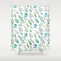 Watercolor Teal Green Teal Blue Leaves Collection By DazzetteMarie | Society6